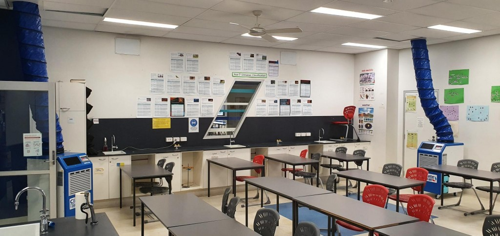 CRS providing heating equipment to heat a school classroom